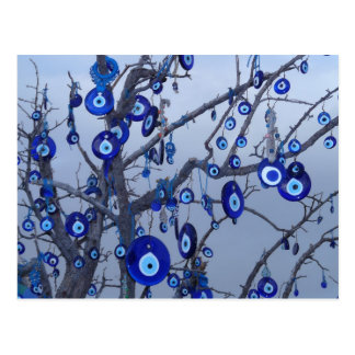 Evil Eye Tree, Blue Nazar Amulet charm accessories Postcard