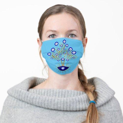 Evil Eye Tree on Blue Cloth Face Mask