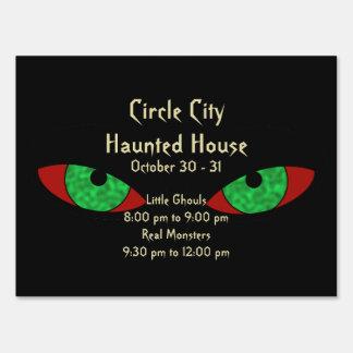 Evil Eyes Creepy Halloween Announcement Sign