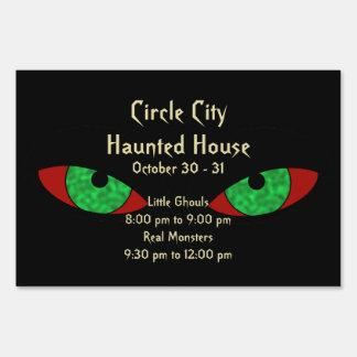 Evil Eyes Creepy Halloween Announcement Yard Sign