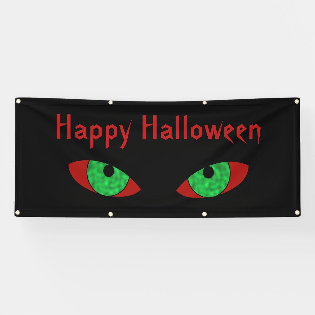 Evil Eyes Happy Halloween Banner