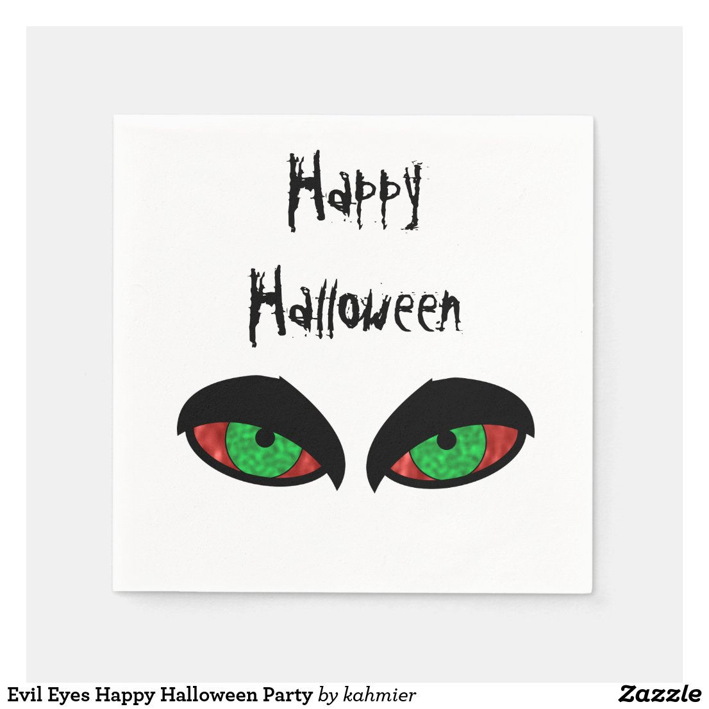 Evil Eyes Happy Halloween Party Napkin