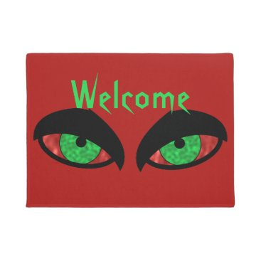 Halloween Themed Evil Eyes Red Halloween Welcome Mat