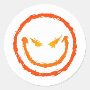 91a7b0bbf Evil Face Classic Round Sticker