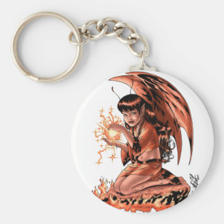 Evil Fairy doing Magic by Al Rio Basic Round Button Keychain
