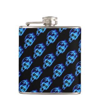 Evil Flaming Blue Skulls Pattern Goth Flask