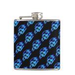 Evil Flaming Blue Skulls Pattern Goth Hip Flasks