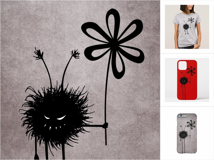 Zazzle collection featuring products with the Evil Flower Bug