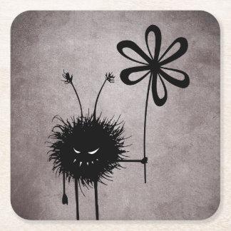 Evil Flower Bug Vintage Square Paper Coaster