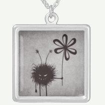 Evil Flower Bug Vintage Square Pendant Necklace