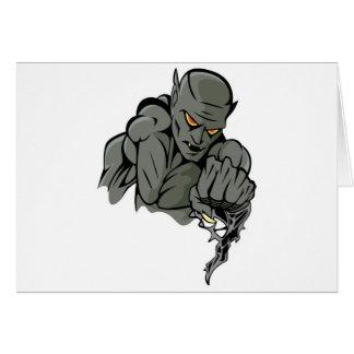 evil gargoyle monster greeting cards