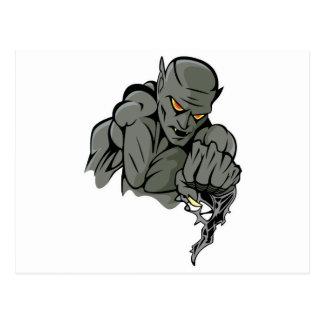 evil gargoyle monster postcard