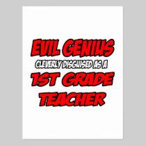 Evil Genius...1st Grade Teacher Postcard