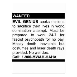 Evil Genius Ad Postcard