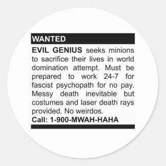 Evil Genius Ad Round Stickers