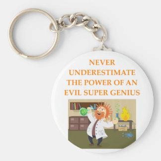 evil genius basic round button keychain
