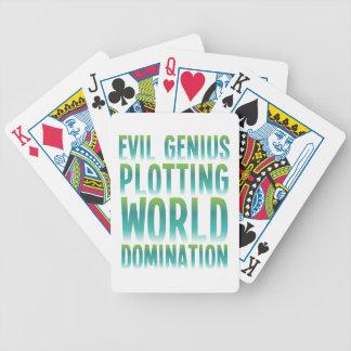 EVIL GENIUS PLOTTING WORLD DOMINATION BICYCLE PLAYING CARDS