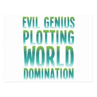 EVIL GENIUS PLOTTING WORLD DOMINATION POSTCARD