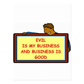evil genius postcard