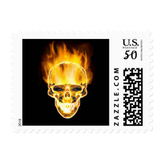 Evil Glowing Demonic Flaming Burning Skull Postage