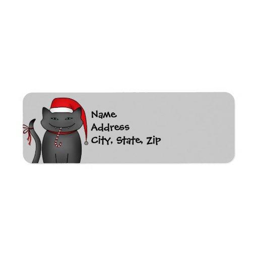 Evil gray Christmas kitty blue background Custom Return Address Labels