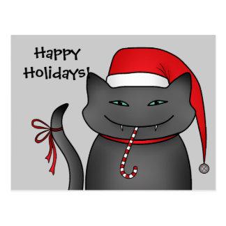 Evil gray Christmas kitty blue background Postcard