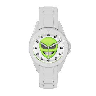 Evil Green Alien Grinning Wristwatches