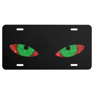 Evil Green Eyes License Plate