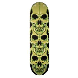 Evil Green Grinning Gothic Skulls Skateboard