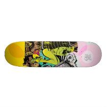 artsprojekt, evil green skate deck, jim, mahfood, food, one, 40oz, comics, clerks, grrl scouts, colt 45, stupid, page, filler, man, live art, live, art, z-trip, murs, felt, true, tales, underground, hip, hop, sarah, silverman, program, frenchpulp, mahf, earthworms, comic, books., jim mahfood, jim mahfood skateboards, food one skateboards, 40 oz comics skateboards, food one, 40 oz comics, Skateboard with custom graphic design