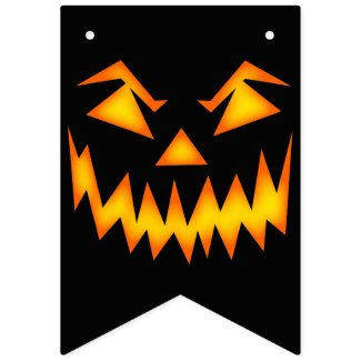Evil Grinning Face Halloween Bunting Flags
