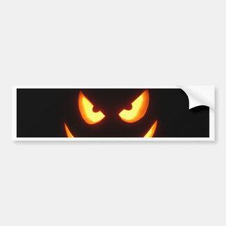 Evil grinning Halloween Pumpkin Face Bumper Sticker