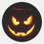 Evil grinning Halloween Pumpkin Face Round Sticker