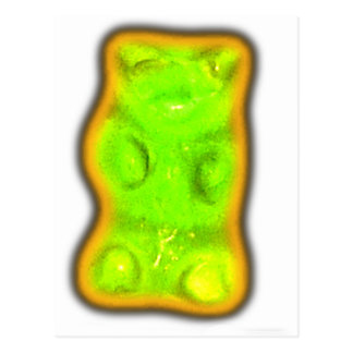 Evil gummy bear postcard