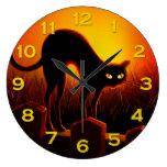 Evil Halloween Black Cat Glowing Eyes Wall Clock