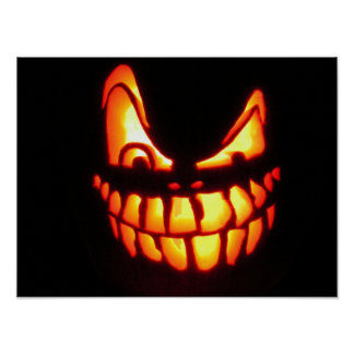 Evil Halloween Jack o' Lantern Poster