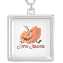 Evil Halloween Pumpkin square Silver Plated Necklace