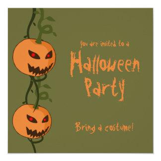 "Evil Hanging Jack O'Lanterns Halloween Invitation 5.25"" Square Invitation Card"