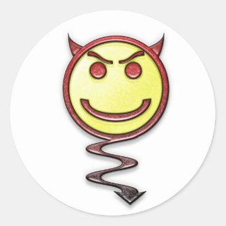 Evil Happy Face Classic Round Sticker