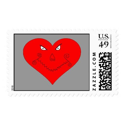 Evil Heart Face Postage Stamps