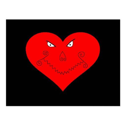Evil Heart Face Postcard