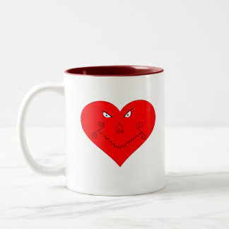 Evil Heart Face Two-Tone Coffee Mug