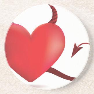 Evil heart sandstone coaster