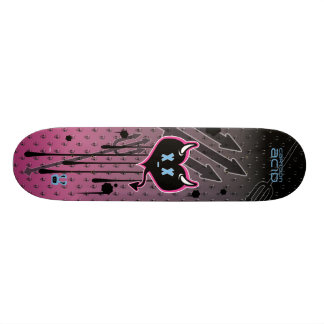 Evil Heart, Skulls, Pitchforks Skateboard (Pink)