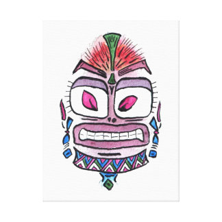 Evil Idol - tribal watercolor caricature Stretched Canvas Prints