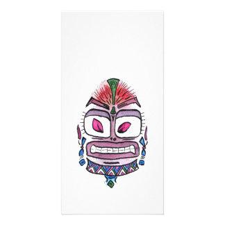 Evil Idol - tribal watercolor caricature Card