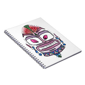Evil Idol - tribal watercolor caricature Spiral Note Book
