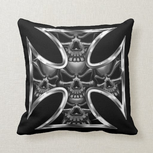 Evil Iron Cross Throw Pillows