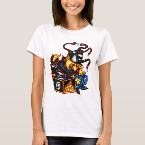 Evil Jack In the Box and fairy Goth Fantasy art T_Shirt