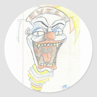 Evil Jack in the box  Klown Classic Round Sticker